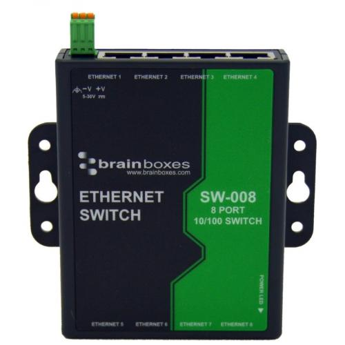 Brainboxes 8 Port Unmanaged Ethernet Switch Wall Mountable Alternate-Image2/500