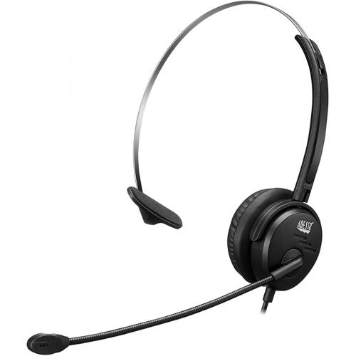 Adesso USB Single Sided Headset With Adjustable Microphone  Noise Cancelling  Mono   USB   Wired   Over The Head   6 Ft Cable  , Omni Directional Microphone   Black Alternate-Image2/500