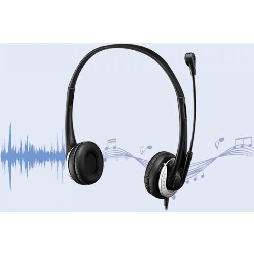 Adesso USB Stereo Headset With Adjustable Microphone  Noise Cancelling  Mono   USB   Wired   Over The Head   6 Ft Cable  , Omni Directional Microphone   Black Alternate-Image2/500