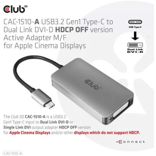 Club 3D DVI D/USB C Video Adapter Alternate-Image2/500