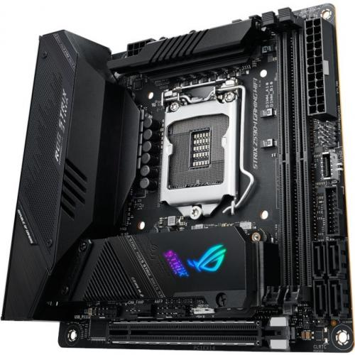 Asus ROG Strix Z590 I GAMING WIFI Desktop Motherboard   Intel Chipset   Socket LGA 1200   Intel Optane Memory Ready   Mini ITX Alternate-Image2/500