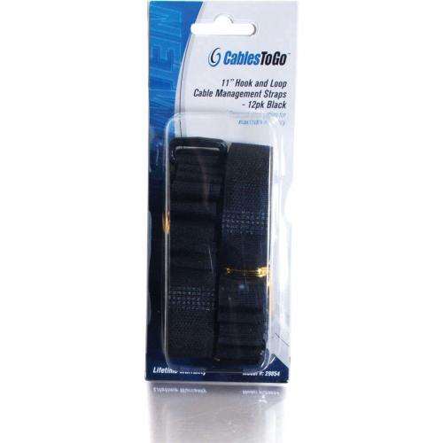 C2G 11in Hook And Loop Cable Management Straps   Black   12pk Alternate-Image2/500