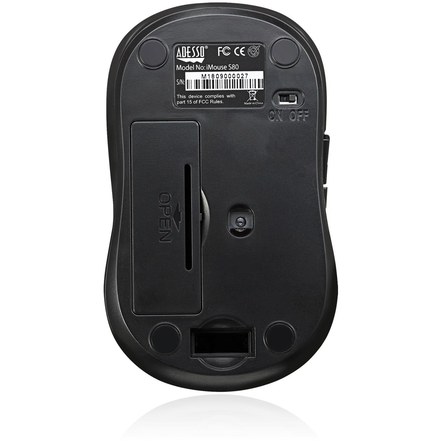 Adesso IMouse S80B   Wireless Fabric Optical Mini Mouse (Black) Alternate-Image3