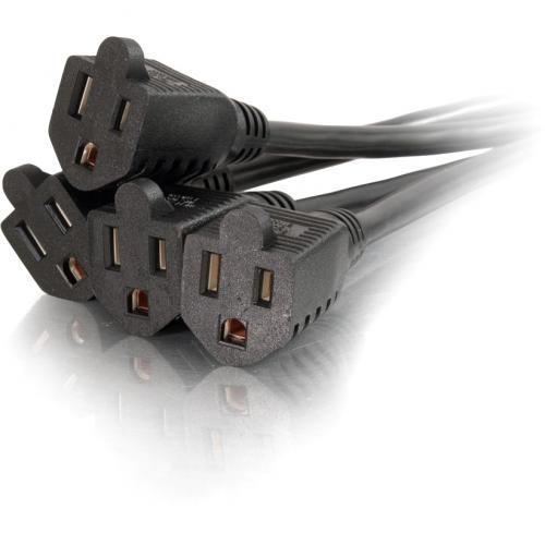 C2G 6ft 16 AWG 1 To 4 Power Cord Splitter (1 NEMA 5 15P To 4 NEMA 5 15R) Alternate-Image3/500
