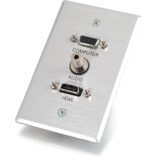 C2G HDMI, VGA And 3.5mm Audio Pass Through Wall Plate Single Gang Brushed Aluminum Alternate-Image3/500