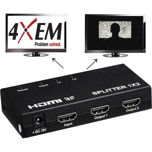 4XEM 2 Port HDMI Splitter & Signal Amplifier Alternate-Image3/500