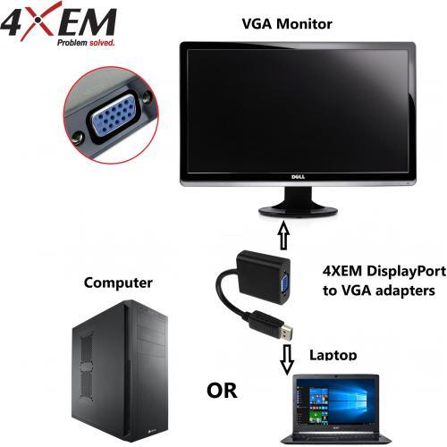 4XEM 6FT DisplayPort To VGA Adapter Cable   Black Alternate-Image3/500