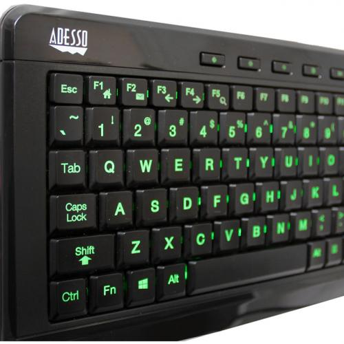 Adesso SlimTouch 120   3 Color Illuminated Compact Multimedia Keyboard Alternate-Image3/500