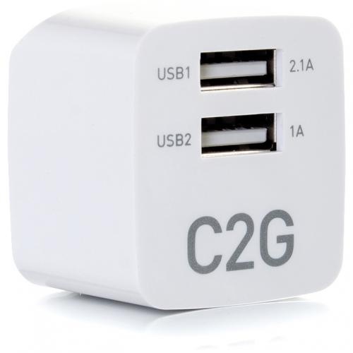 C2G 2 Port USB Wall Charger   AC To USB Adapter   5V 2.1A Output Alternate-Image3/500