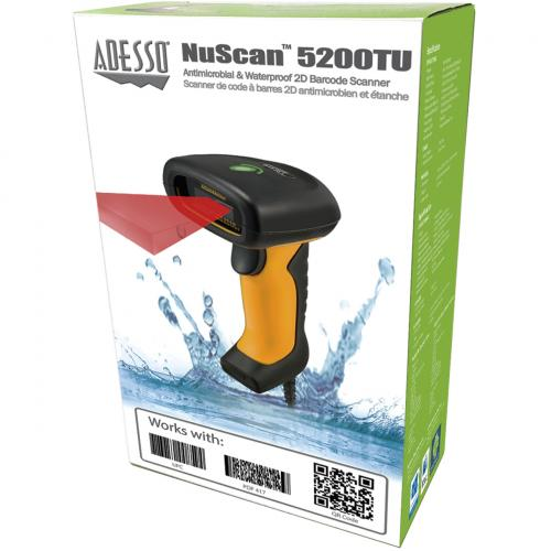 Adesso NuScan 5200TU  Antimicrobial & Waterproof 2D Barcode Scanner Alternate-Image3/500