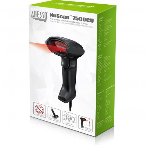 Adesso NuScan 7500CU Antimicrobial Handheld CCD Barcode Scanner Alternate-Image3/500