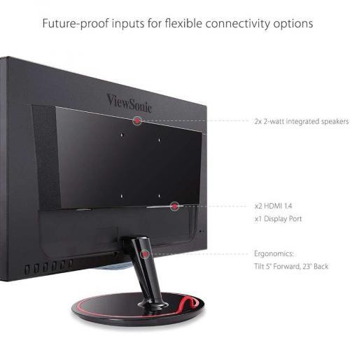 "Viewsonic VX2458 Mhd 23.6"" Full HD LED Gaming LCD Monitor   16:9   Black Red Alternate-Image3/500"
