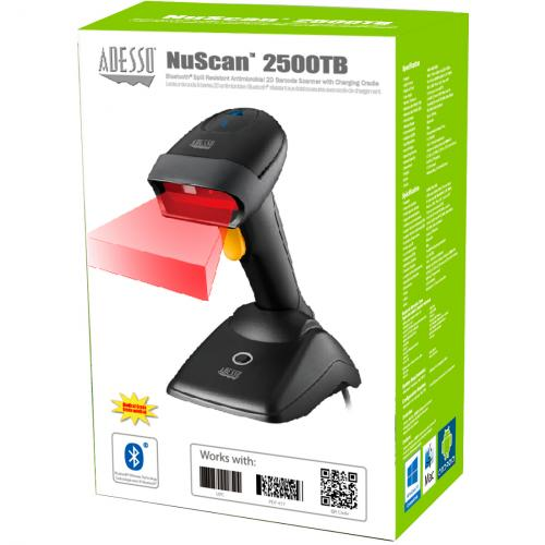 Adesso NuScan 2500TU Spill Resistant Antimicrobial 2D Barcode Scanner Alternate-Image3/500