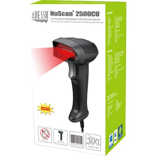 Adesso NuScan 2500CU Spill Resistant Antimicrobial CCD Barcode Scanner Alternate-Image3/500