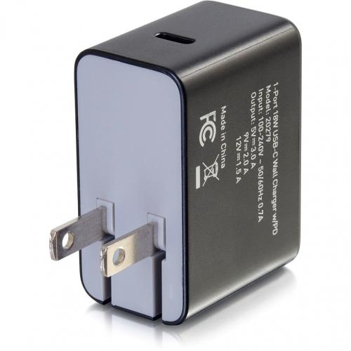 C2G USB C Wall Charger With Power Delivery   1 Port   18W Power Alternate-Image3/500