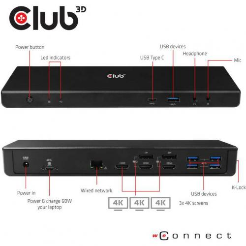 Club 3D USB C 3.2 Gen1 Universal Triple 4K Charging Dock Alternate-Image3/500
