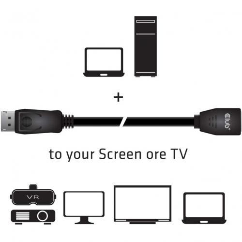 Club 3D Displayport Extension Audio/Video Cable Alternate-Image3/500