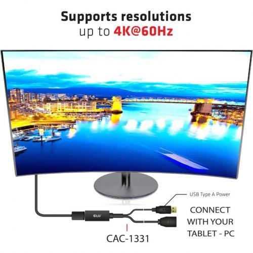 Club 3D HDMI To DisplayPort 4K60Hz M/F Active Adapter Alternate-Image3/500