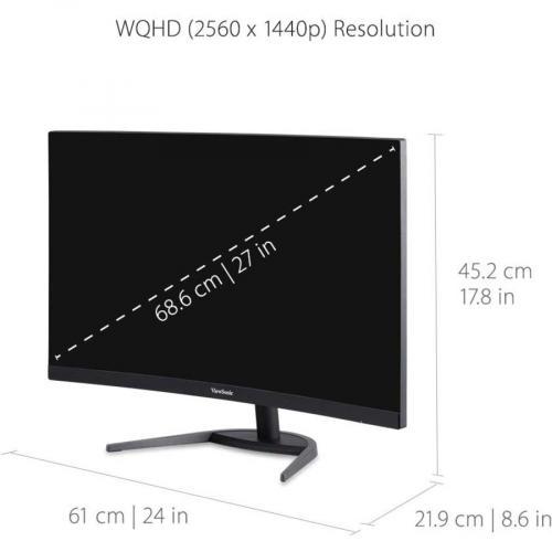 "Viewsonic VX2768 2KPC MHD 27"" WQHD Curved Screen LED Gaming LCD Monitor   16:9 Alternate-Image3/500"