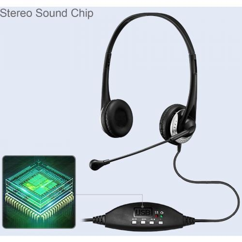 Adesso USB Stereo Headset With Adjustable Microphone  Noise Cancelling  Mono   USB   Wired   Over The Head   6 Ft Cable  , Omni Directional Microphone   Black Alternate-Image3/500