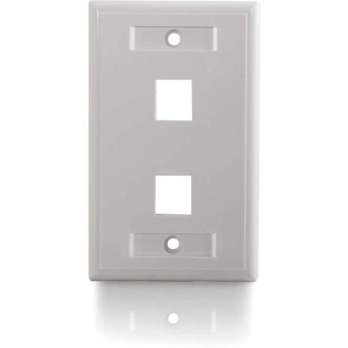 C2G 2 Port Single Gang Multimedia Keystone Wall Plate   White Alternate-Image3/500