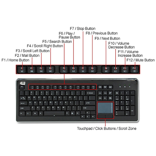 Adesso SlimTouch 4400   Wireless Desktop Touchpad Keyboard Alternate-Image4/500