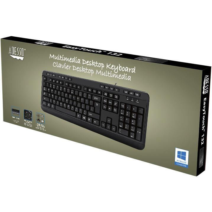 Adesso AKB 132HB  Multimedia Desktop Keyboard With 3 Port USB Hub Alternate-Image4