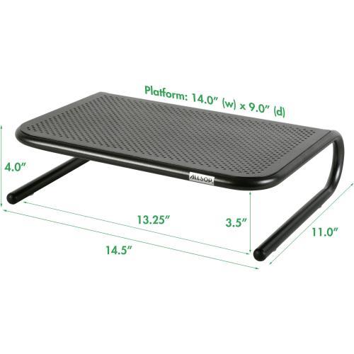 Allsop Metal Art Jr. Monitor Stand 14 Inch Wide Platform   Pearl Black (30165) Alternate-Image4/500
