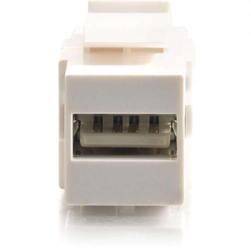 C2G Snap In USB A/B Female Keystone Insert Module   White Alternate-Image4/500