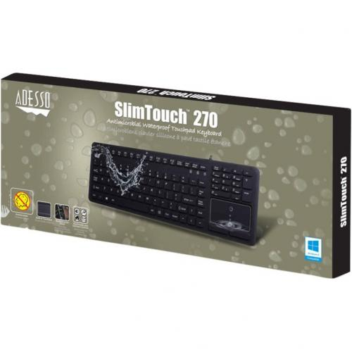 Adesso SlimTouch 270   Antimicrobial Waterproof Touchpad Keyboard Alternate-Image4/500