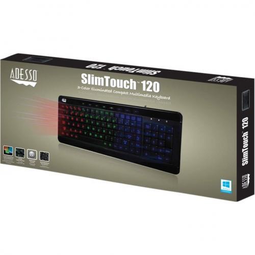 Adesso SlimTouch 120   3 Color Illuminated Compact Multimedia Keyboard Alternate-Image4/500
