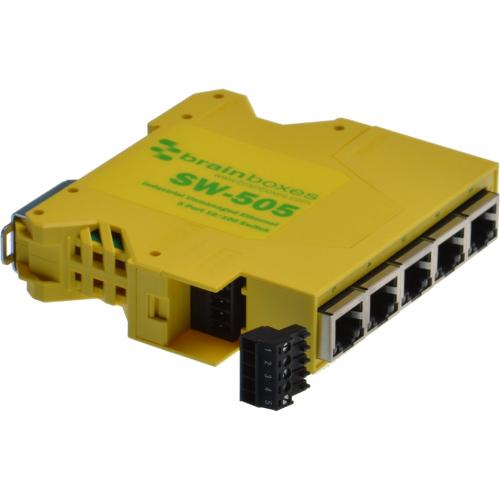 Brainboxes Industrial Compact Ethernet 5 Port Switch DIN Rail Mountable Alternate-Image4/500