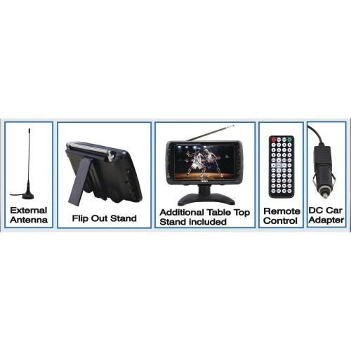"""Naxa NT 70 7"""" LCD TV   Shiny Black Alternate-Image4/500"""