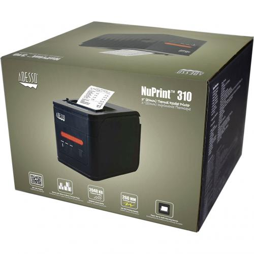 Adesso NuPrint 310 Direct Thermal Printer   Monochrome   Desktop   Receipt Print Alternate-Image4/500