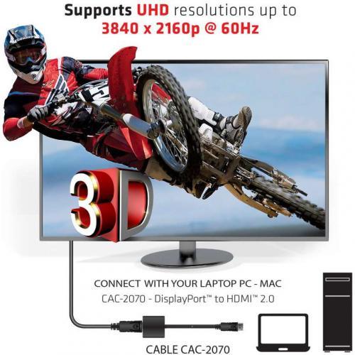 Club 3D DisplayPort 1.2 To HDMI 2.0 UHD Active Adapter Alternate-Image4/500