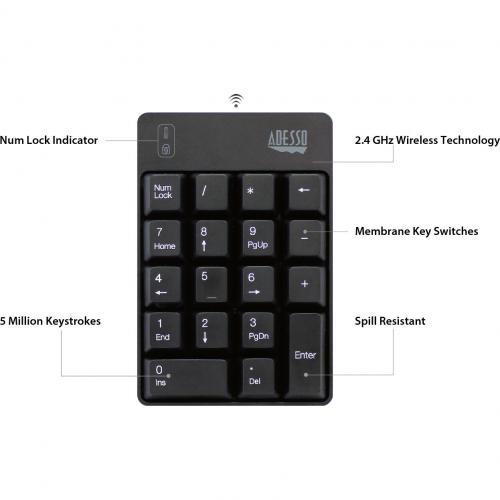 Adesso WKB 6010UB   Wireless Spill Resistant 18 Key Numeric Keypad Alternate-Image4/500