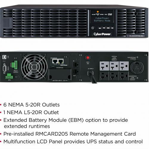 CyberPower UPS Systems OL2200RTXL2UN Smart App Online    Capacity: 2200 VA / 1800 W Alternate-Image4/500