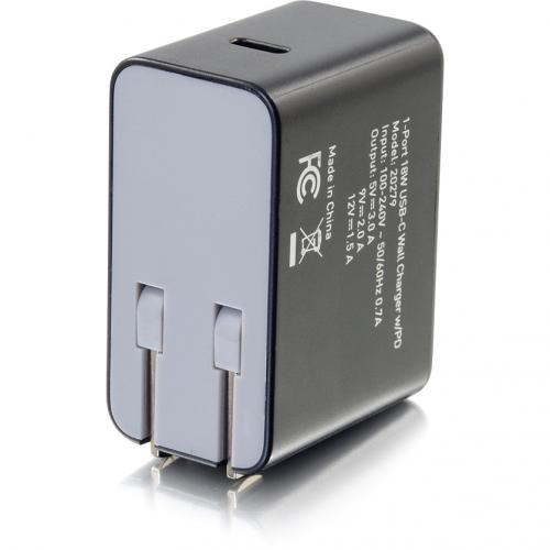 C2G USB C Wall Charger With Power Delivery   1 Port   18W Power Alternate-Image4/500