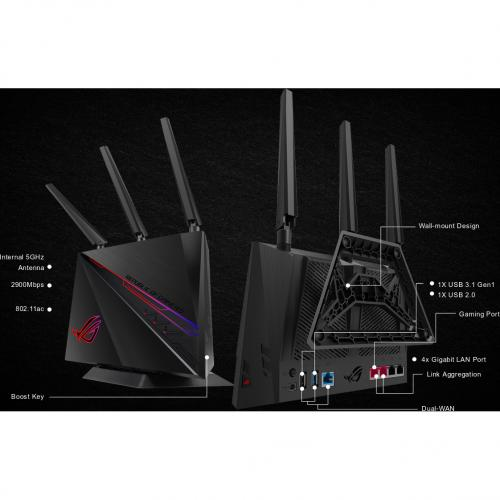 Asus ROG Rapture GT AC2900 IEEE 802.11ac Ethernet Wireless Router Alternate-Image4/500