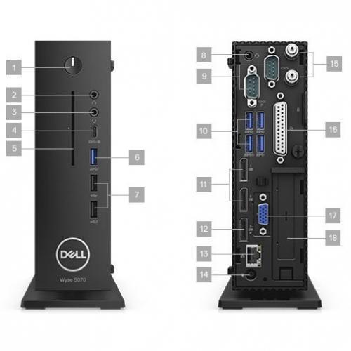 Wyse 5000 5070 Thin Client   Intel Celeron J4105 Quad Core (4 Core) 1.50 GHz Alternate-Image4/500