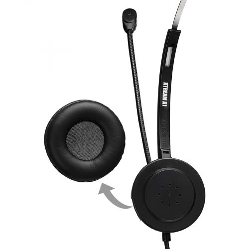 Adesso USB Single Sided Headset With Adjustable Microphone  Noise Cancelling  Mono   USB   Wired   Over The Head   6 Ft Cable  , Omni Directional Microphone   Black Alternate-Image4/500