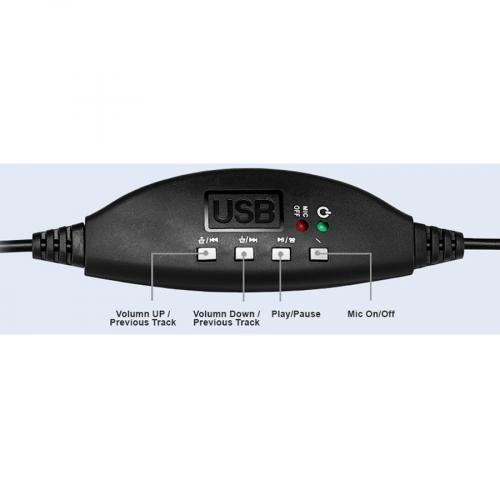 Adesso USB Stereo Headset With Adjustable Microphone  Noise Cancelling  Mono   USB   Wired   Over The Head   6 Ft Cable  , Omni Directional Microphone   Black Alternate-Image4/500