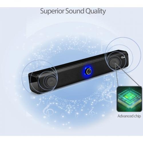 Adesso Xtream S6 Portable Bluetooth & Aux Sound Bar Speaker   10W X 2  Black   3.5mm   Rechargeable Battery   Volume Control Knob   Wired/Wireless Alternate-Image4/500
