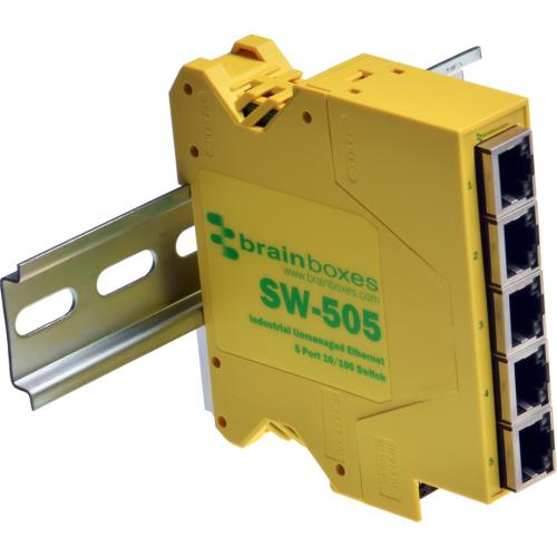 Brainboxes Industrial Compact Ethernet 5 Port Switch DIN Rail Mountable Alternate-Image5/500