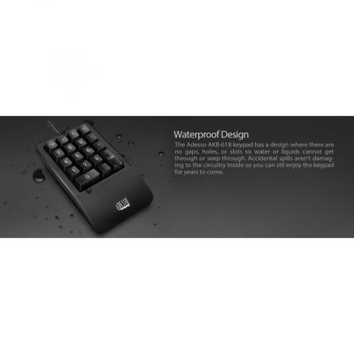Adesso AKB 618  Antimicrobial Waterproof Numeric Keypad With Wrist Rest Support Alternate-Image5/500