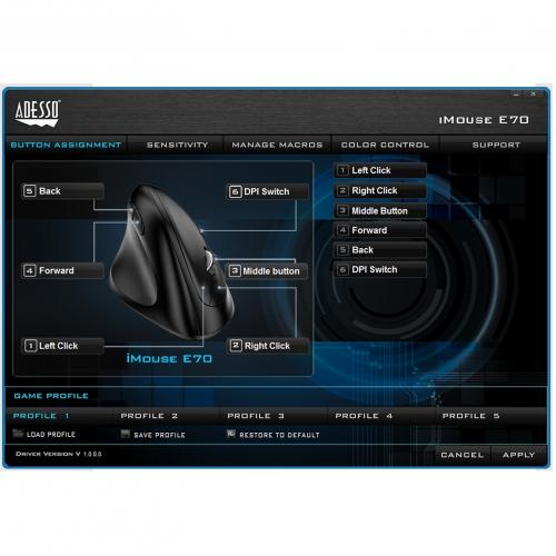 Adesso IMouse E70   2.4 GHz Wireless Vertical Lefthanded Programmable Mouse Alternate-Image5/500