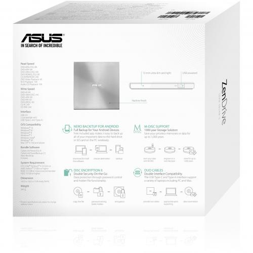 Asus ZenDrive SDRW 08U9M U DVD Writer   Silver Alternate-Image5/500