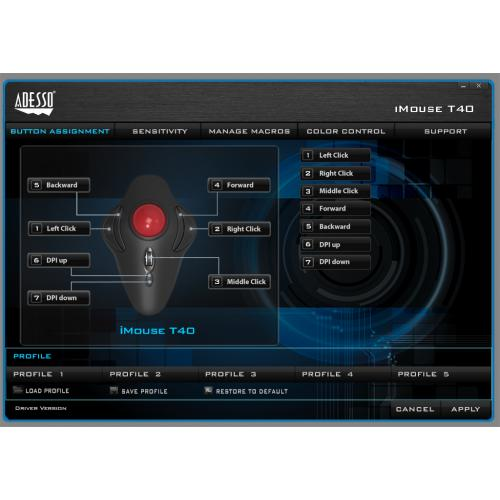 Adesso IMouse T40   Wireless Programmable Ergonomic Trackball Mouse Alternate-Image5/500