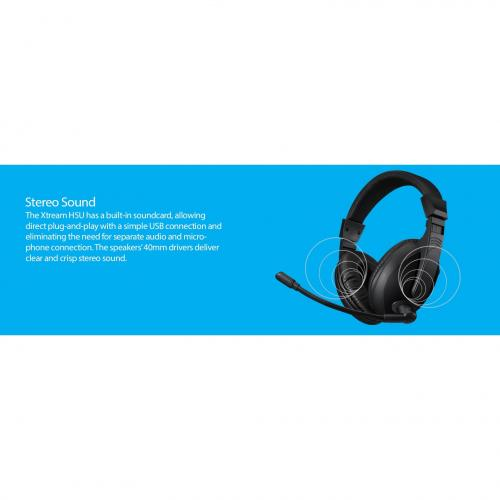 Adesso Xtream H5U   USB Stereo Headset With Microphone   Noise Cancelling   Wired  Lightweight Alternate-Image5/500