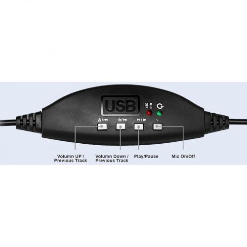 Adesso USB Single Sided Headset With Adjustable Microphone  Noise Cancelling  Mono   USB   Wired   Over The Head   6 Ft Cable  , Omni Directional Microphone   Black Alternate-Image5/500